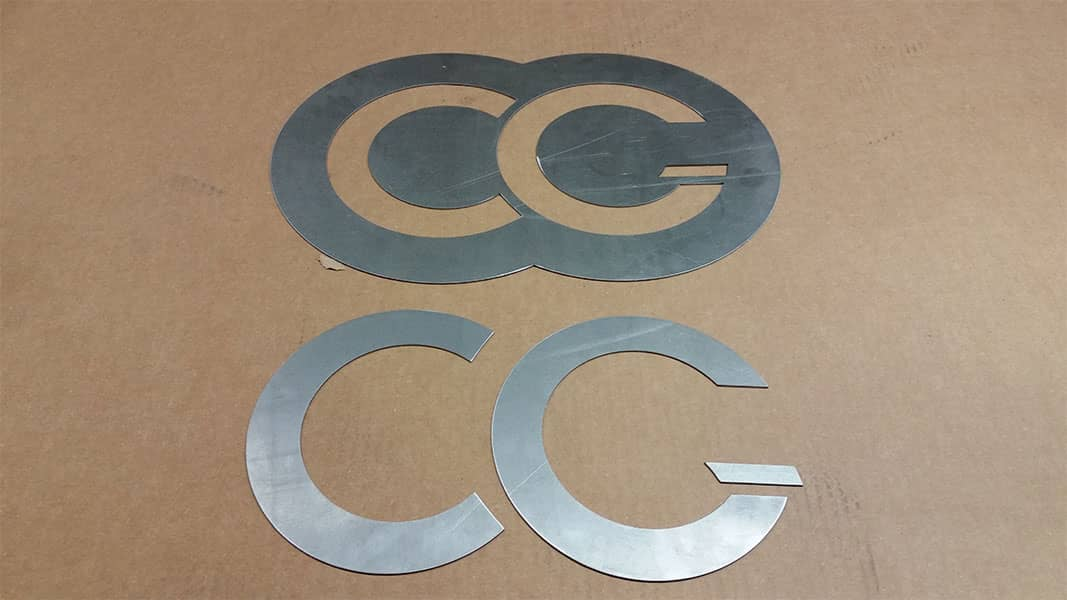 steel sheet metal custom cut company logo