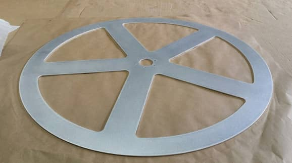 Aluminum circle with custom made cut-outs