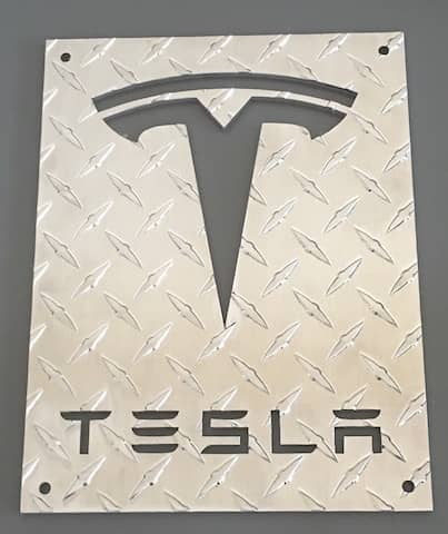 Aluminum Diamond Plate Tesla Sign available in 4 different sizes