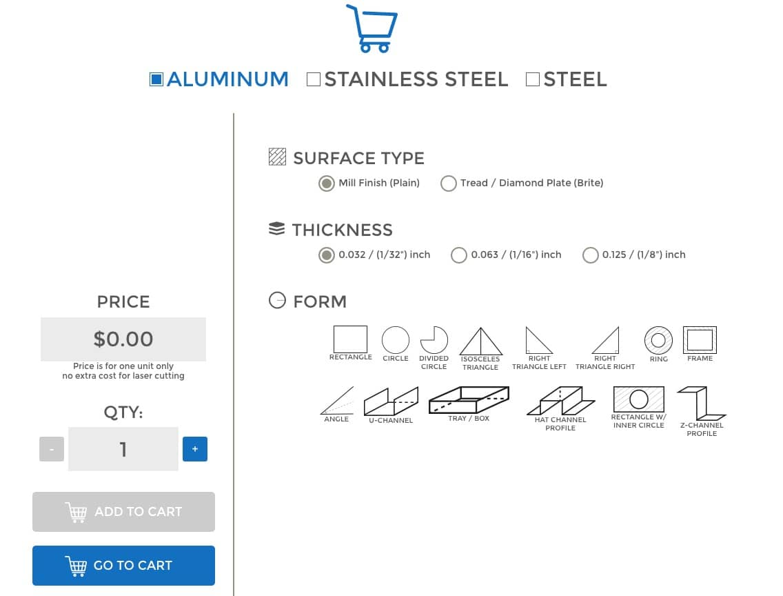 Clicks to order sheet metal online