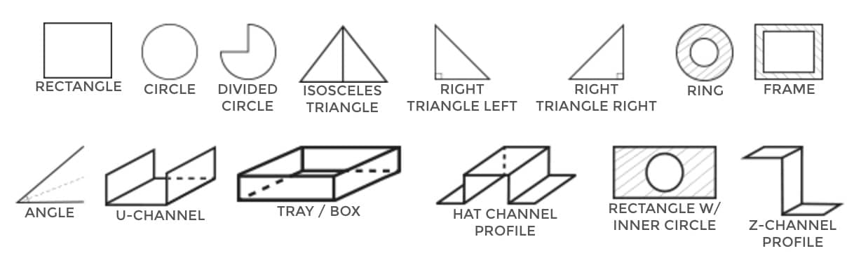 14 shapes and forms, rectangle, circle, triangle, angle, u-channel, z-channel, hat channel, traz, box, divided circle