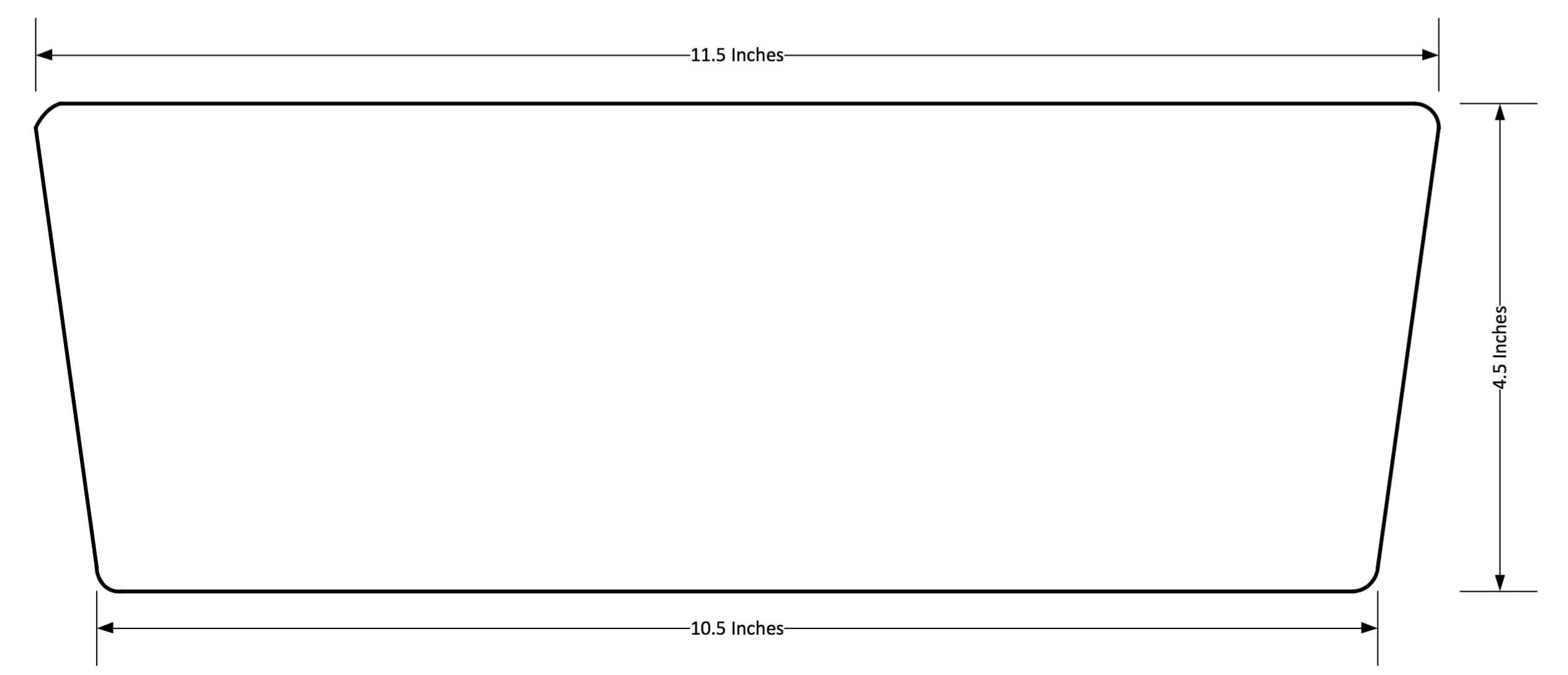 trapezoid shape and slightly rounded corners
