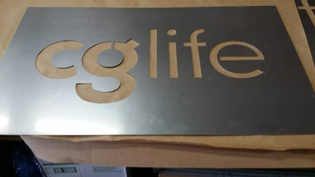 Company Logo sign made out of steel sheet metal