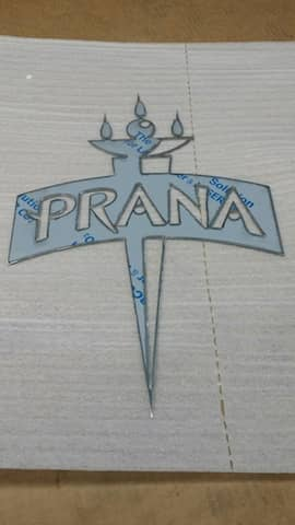 brushed stainless steel logo