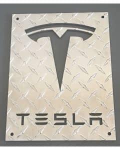 Custom Made Tesla Logo Aluminum Diamond Plate