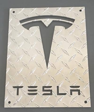 Awesome Diamond Plate Tesla Sign Made For One Of Our Customers