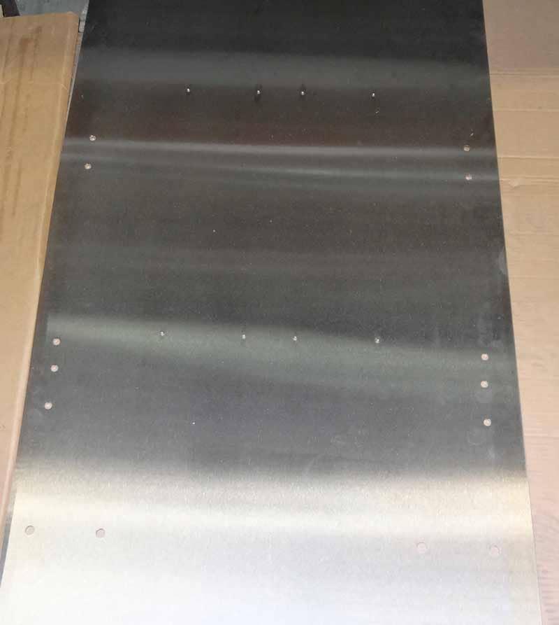 Individual custom cut sheet metal rectangle hole